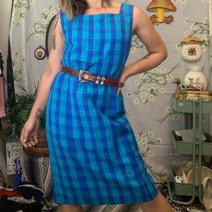 Vintage royal blue plaid linen midi dress